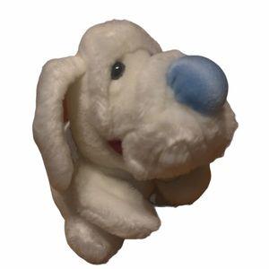 "💙🤍RARE WHITE Vintage WRINKLES Plush Dog Toy 7"""